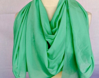 Synthetic Blend Bright Green Scarf