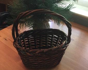 Vintage Basket Adorable Small Dark Brown Basket