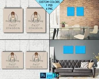 8x10 #WP04 Set of 2 Portrait & Landscape Poster Mockups on Interior Wall, Metal Binder Clip, 4 Unframed Print Display Mockups PNG PSD PSE