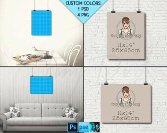 11x14 #WP01 Portrait & Landscape Poster Mockups on Interior Wall, Black Binder Clips, 4 Unframed Print Display Mockups PNG PSD PSE, 28x36cm