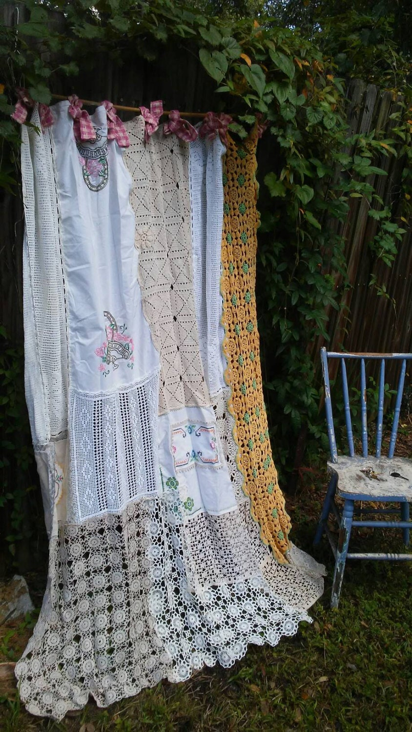 Shabby chic shower curtain vintage crochet vintage Vintage shower curtains