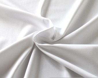 Fabric cotton elastane satin white