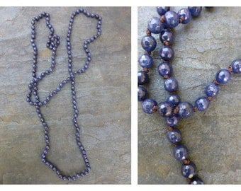 60 Inch Bead Necklace Hand Knotted Faceted Blue Agate- Blue Long Beaded Necklace