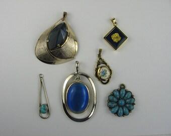 Blue Pendant Destash Lot of 6 Pieces