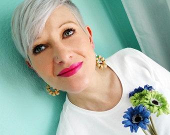 Wine Cork Earrings - Colorful Earrings - Lightweight Earrings - Ecofriendly Jewelry - Bohemian Earrings -  Handmade Earrings - Boho Jewelry