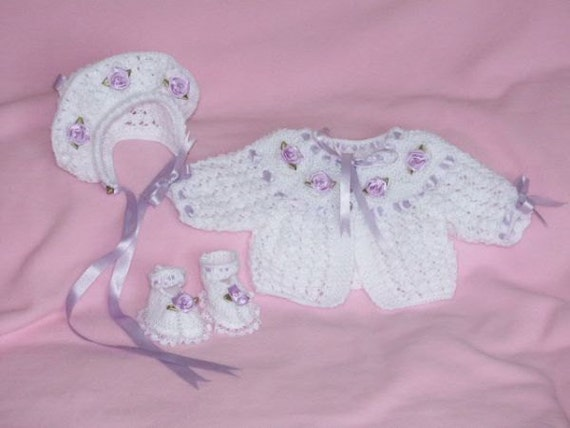 """Baby Knitting pattern Ref08 Matinee Coat, Bonnet and Shoes size Prem/15"""" doll"""