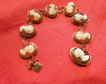 14k Cameo Bracelet- Antique- Set with 8 Hand Carved Shell Cameos- Beautiful!