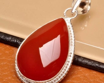 Red Agate silver plated pendant  ( #J1545)