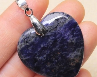 Natural Sodalite silver plated heart pendant  ( #J1559)