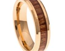 Men's Wedding Band, Rose Gold Hawaiian Koa Wood Inlay 6MM. Tungsten Carbide Men's Ring, Sizes 7-13