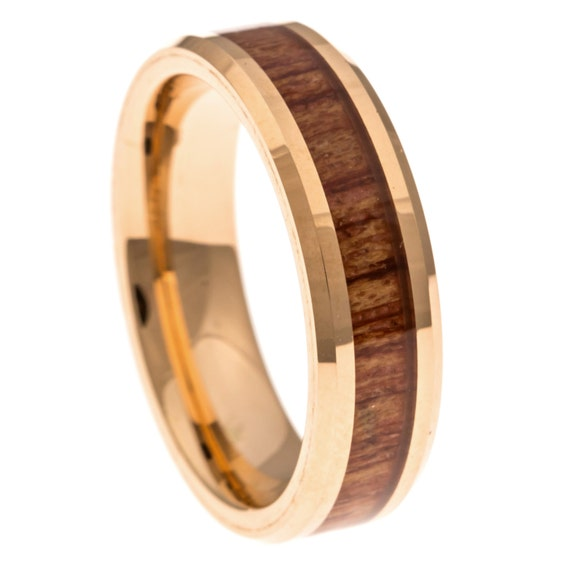 Men S Wedding Band Rose Gold Hawaiian Koa Wood By