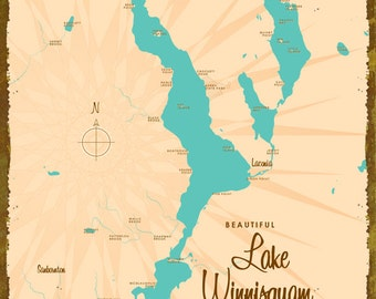 Lake Winnisquam, NH Map - Canvas Print