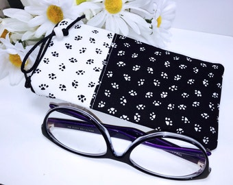 Paw Prints Glasses Case, Eyeglass Case, Sunglass Pouch, Minimalist Glasses Case, Sunglasses Case, Eyeglasses Case, Soft Glasses Case