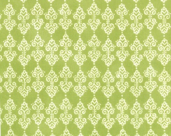 Meadow Friends White Curly Hearts and Dots on Grass Green Background by Deb Strain for MODA - 19484-14