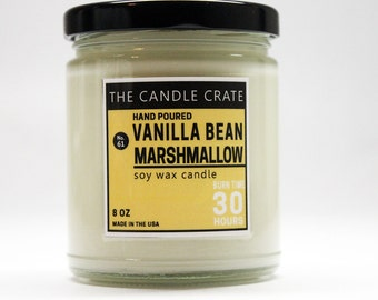 Vanilla Bean Marshmallow 8 Ounce Highly Scented Soy Wax Candle