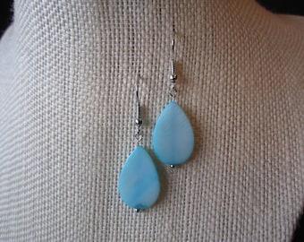 Shell Dangle Earrings; Ocean Blue Teardrops