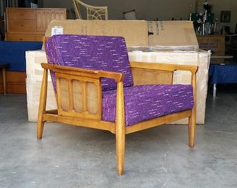 Vintage 1970's Danish Lounge Chair Mid Century Modern Cane Back & Sides Hollywood Regency Great Profile MCM