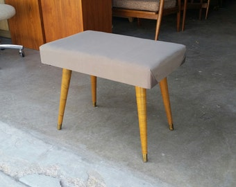 Vintage 1950's Ottoman Plywood & Maple Mid Century Modern Splayed Legs Footstool MCM