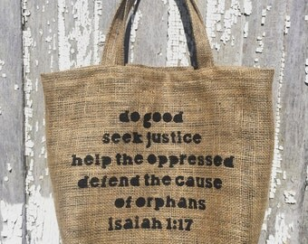 Justice Inspired Burlap Lined Tote Bag
