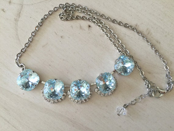 Something Blue Light Azore & Clear Crystal Bridal, Bridesmaid, Cocktail Necklace