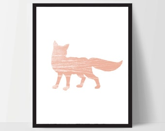 Fox, Wall Art, Artwork, Home Decor, Modern Print, Print Art, Instant Download, Coral Pink, Nursery, Baby, Digital Print
