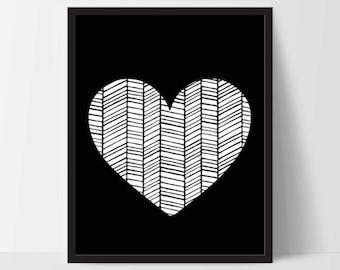 Wall Art, Geometric Heart, Unframed, Artwork, Home Decor, Modern Contemporary, Print Art, Boho, Nursery, Baby, Black, 12x16 Inches