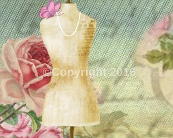 Sewing Shop Icon Collage Shabby DIY Etsy Banner Shop Icon Vintage Cover Roses Vintage Blank Shop Store Avatar Instant Digital Download