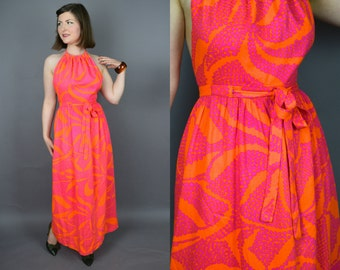 Mai Tai || Vintage 60's 70's High Neck Backless Halter Hawaiian Maxi Tiki Dress with Bold Hot Pink and Orange Print || Small S - Medium M