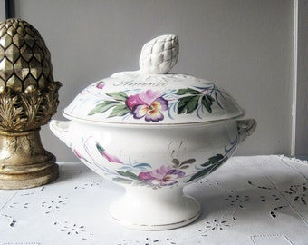 """Antique French White Ironstone Soup Tureen Wedding Serving Dish Pansies Hand painted """"Souvenir de la Fête"""" 1900"""