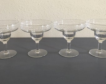 Set of four vintage clear etched crystal margarita glasses for your 1970s tropical Old Florida home!