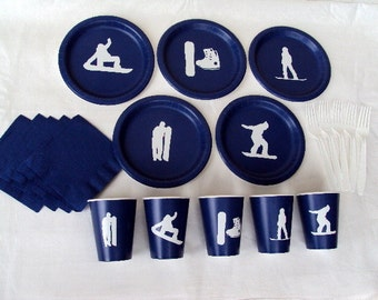 Snow Boarding Party Tableware Set for 5 People