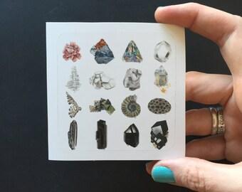 3x3in Hand Drawn Neutral Minerals Art Sticker