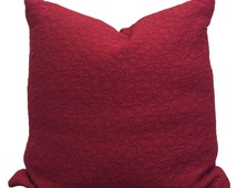 Rose red textured soft quilted cushion cover