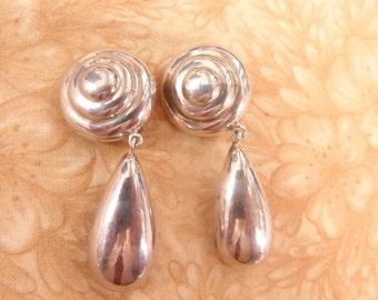 dangle swirl sterling silver earrings vintage 925 clip on jewelry