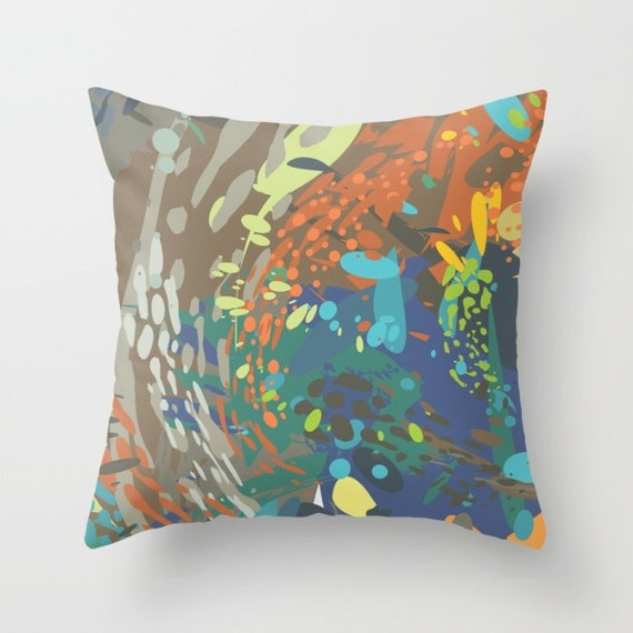 Modern Art Pillow : Art decorative pillow Modern abstract art orange blue
