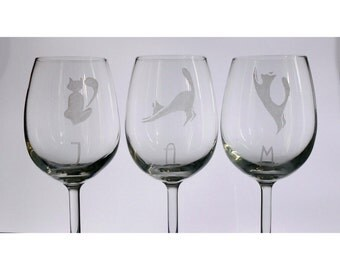 Custom Hand Etched wine glasses