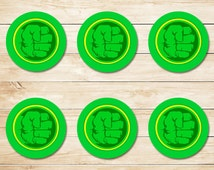 Incredible Hulk Sticker - Hulk Smash / Hulk Cupcake Toppers / Hulk Party Favors / Hulk Party Supplies / Hulk Fist Logo / Superhero 2 inch