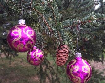 3 Vintage Mercury Glass Christmas Ornaments