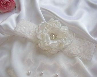 White Flower Headband for Christening or Wedding.
