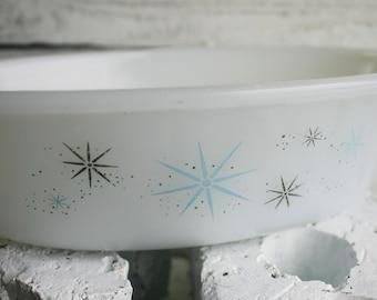 Glasbake Starburst Milkglass Cassarole Dish - Mid Century Atomic Design