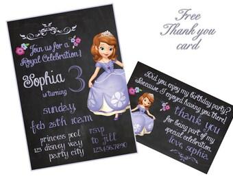 Sofia invitation, Princess Sofia Invitation, Sofia the First birthday invitations, Sofia Invites, Printables DIY, no photo, chalkboard