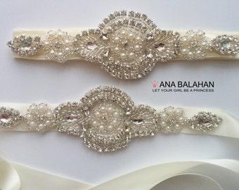 "Belt and Headband Set, Flower girl sash, Satin sash 1.5"", Maternity sash, Bridesmaid belt, Wedding sash and Headpiece, Rhinestone belt"
