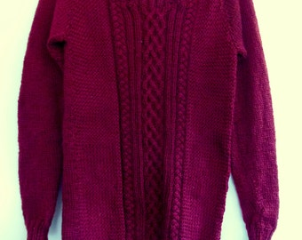 Women's knitted cable jumper burgandy XS