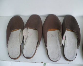 Vintage Bulgarian Hotel Slippers 1960s,  Leather Slippers Brown ,House Shoes Slippers,Unused,