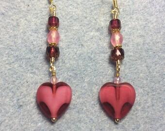 Bright pink Czech glass heart bead dangle earrings adorned with pink Czech glass beads.