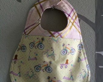 """Bib for a baby or toddler girl, Doohickey Designs for Riley Blake fabric, """"Dress Up Days"""", one of a kind, Ready to ship"""