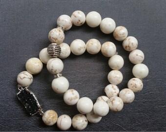White Turquoise Semi Precious Bracelet Set / Black Druzzy Bracelet / Boho Jewelry
