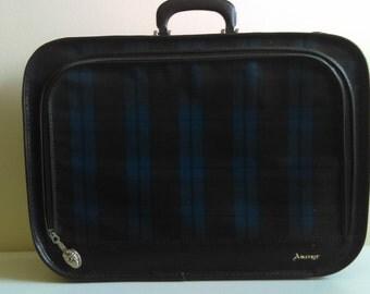 Vintage Blue and Black Plaid Amcrest Suitcase.