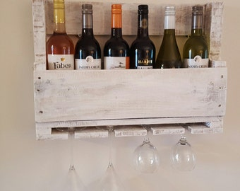 Unique Handmade Rustic reclaimed pallet  wood wine rack holds 6 bottles and 4 glasses