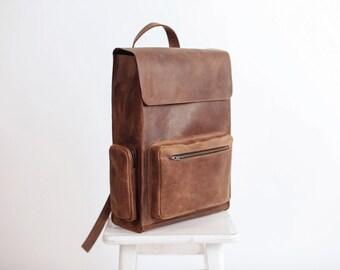 Handmade Leather Large Backpack Rucksack Travel Bag Genuine Leather